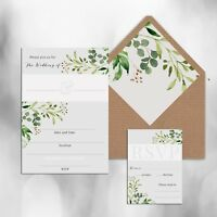 PACK OF 10 x BLANK GREY & GREEN FLORAL WEDDING INVITATIONS