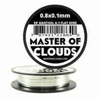 50 ft - 0.8 X 0.1 mm Flat Ribbon Kanthal A-1 Resistance Wire Spool A1 50' Roll