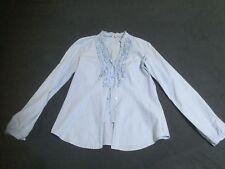 Hellblaues Damenhemd Esprit mit Rüschen weiße Streifen(Größe 36)