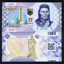 USA States, Oregon, $50, Polymer, ND (2018), UNC - Chief Joseph, Oregon Trail