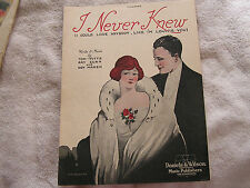 I Never Knew Sheet Music 1920 P.M. Griffith Cover