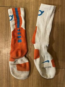 Nike Elite 2.0 Basketball Crew Socks Size L Kevin Durant  White, Orange, Blue