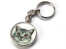 BRITISH SHORTHAIR SILVER TABBY Cat Quality Chrome Keyring Picture Both Sides