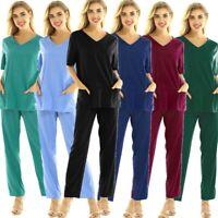 Women Men Medical Doctor Nursing Scrub Costume Uniform Full Set Top Long Pant