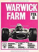 1968 WARWICK FARM F1 RACE MEETING BRABHAM HILL CLARK A3 AD POSTER ADVERTISEMENT