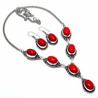 Red Coral Handmade Ethnic Style Necklace & Earring Jewelry Set  PK-396
