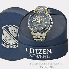 Authentic Citizen Eco-Drive Stainless Steel Blue Angel Sky Hawk Watch JY0040-59L
