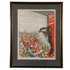 """""""Girl With Bouquet"""" by Kostia B Signed Ltd Edition #182/275 Color Lithograph"""