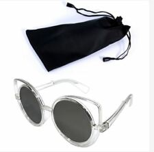 Circular Sunglasses Clear Frame Grey Lens Shades with Pouch