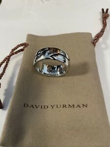 David Yurman Men's Sterling Silver Forged Carbon 10mm Ring Sz 11 In Mint + Pouch