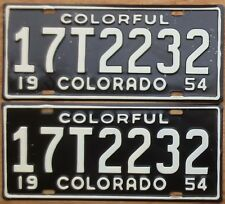 1954 Colorado License Plate Number Tag PAIR Plates - Truck