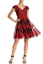 NWT $308 VERA WANG Black/Red Cap Sleeve Layered Lace Cocktail Dress Sz 14