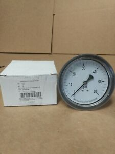 "NEW 4UA32A  0-60 PSI PRESSURE GAUGE 3 1/2"" AIR OR HYDRAULIC GAGE 1/4"" NPT THREAD"