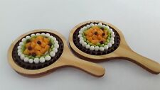 Dollhouse Miniatures Food & Groceries Supply Handcrafted Fruit Pie + Wood Tray 3
