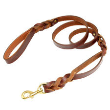 5ft Handcraft Braided Genuine Leather 2 Padded Handle Dog Leash Leads Heavy Duty