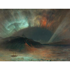 Church Aurora Borealis Northern Lights Seascape Painting Extra Large Art Poster