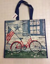 NEW TJ Maxx Large Shopping Bag Tote - Patriotic Red Bicycle - Reusable EcoFriend