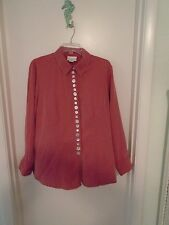 SOFT SURROUNDINGS  Soft/Dusty/Muted Red Size L Long Sleeve Blouse/Shirt Pre-owne