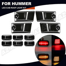 10X LED Cab Roof Marker Lights Smoked For Hummer H2 03-09 H2 SUT 05-09 Amber/Red
