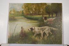 Peinture à l'huile/isorel v 1940 sig E. GIFFARD Chiens de Chasse Setters Etang