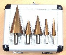 "5PC HSS Cobalt Step Drill Bits Set Metric Sizes Bits ,Shank 1/4"", 3/8"""