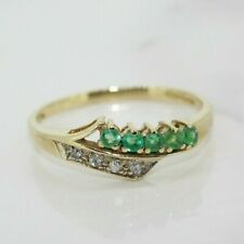 9ct Yellow Gold Emerald and Diamond Eternity Ring (Size O 1/2, US 7 1/4)