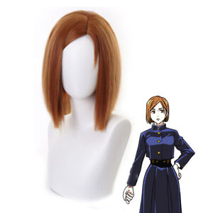 50cm Anime Jujutsu Kaisen Kugisaki Nobara Wig Cosplay Orange Brown Hair Grad-qk