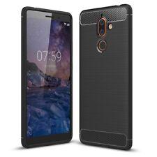 Nokia 7 Plus étui tpu fibre de carbone OPTIQUE Brushed étui housse de protection