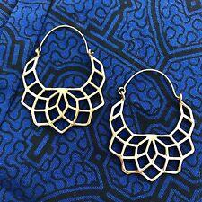 Sacred Geometry Flower of Life Half Moon Hoop Earrings in Brass