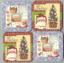 0 ship Longaberger Coasters Christmas Tree Basket Cookies & Santa Snowflakes