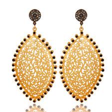 Blue Sapphire Gemstone 925 Silver Filigree Design Diamond Dangle Earrings