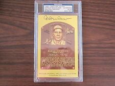 Hal Newhouser Autograph / Signed Gold Hall of Fame post card PSA/DNA Slabed