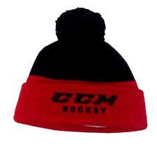 CCM HOCKEY SENIOR/ADULT BLACK/RED KNIT POM STOCKING CAP/HAT OSFM