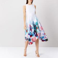 Coast Azure Orsay White/Multi Midi Dress Size UK 14