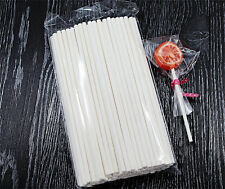 100 x Cake Pop Sticks -  Long 15cm White Paper Lolly Lollipop Candy Cookie Stick