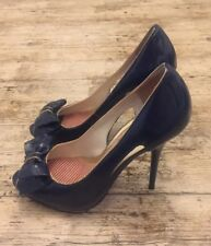 RIVER ISLAND High Stiletto Peep Toe Blue & Gold Patent Shoes With Bow ~Sze 7/40~