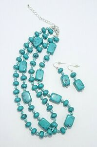 Premier Designs Cabo Turquoise Double Strand Bead Necklace Set w/ Earrings