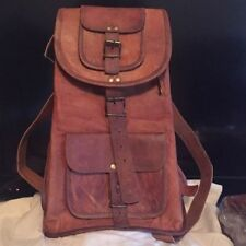 GVB Large Genuine Leather Backpack Rucksack Travel Bag For Men's and Women's