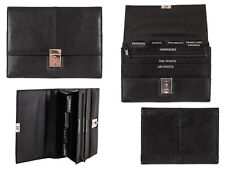Real Leather Passport Travel Document Currency Organizer Holder Wallet with Lock