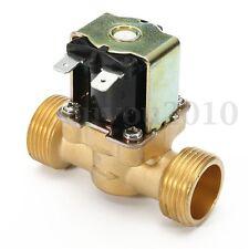 3/4 inch NPSM 12V DC VDC Slim Brass Electric Solenoid Valve Gas Water Air N/C