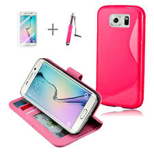 HOT PINK Wallet 4in1 Accessory Bundle Kit S TPU Case For Samsung Galaxy S6 Edge