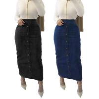 High Waist Button Long Denim Skirt Women Jeans Pencil Bodycon Maxi Skirts Muslim