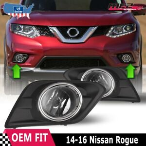 For 2014-2016 Nissan Rogue PAIR OE Style Fit Fog Light Bumper Kit Clear Lens