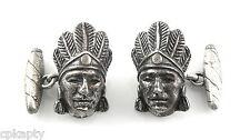 ANTIQUE c. 1910 SIGNED Sterling Native American Chief & Cigar Design CUFFLINKS