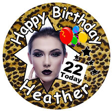 LEOPARD PRINT - BIG BIRTHDAY PERSONALISED BADGE, PHOTO, ANY AGE, NAME - NEW