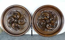 Antique French Large Pair Medallions Hand Carved Wood Walnut Wall Plaque 19th