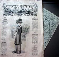 LA MODE ILLUSTREE + PATRON,  n° 11/1909 Voir modèles à réaliser, FRENCH PATTERN