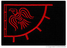 Red Viking Flag Biker Patch Raven Banner Thor Pagan Iron-On Norway Embroidered