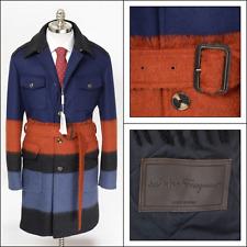 Men's SALVATORE FERRAGAMO Blue Striped Wool Mohair 5Btn Coat Jacket 54 XL NWT