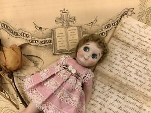 "GOOGLIE GOOGLY 8"" Reproduction Bisque Doll Green Eyes Dress Antique Kestner JDK"